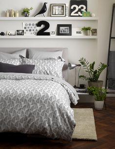 Ferns graphite bed linen