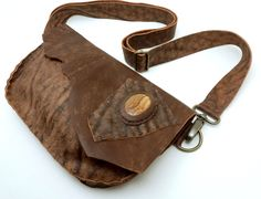 Brown Leather Fanny Pack/Purse with Jasper Cabochon by WildGingerCreations on Etsy
