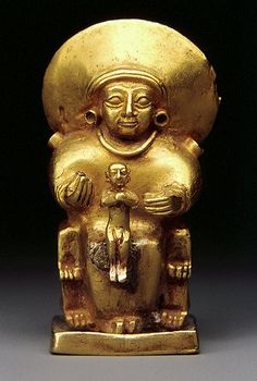 Seated goddess with a child, Hittite Empire, Old Hittite; 15th–13th century BC. Anatolia, central region. Gold. This tiny pendant was probably intended to be worn as an amulet. It is cast in gold using the lost-wax process, The disk-like headdress probably represents the sun, so she may be the sun goddess, Arinna, a major Hittite divinity. On her lap she holds a naked child, cast separately. The chair on which they are seated is backless with lion paws.