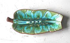 Treasure Craft Ceramic Ash Tray Turquoise Leaf Hawaii 1963. $16.00, via Etsy.