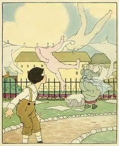 the wind and the clothesline-I had a book with these illustrations as a child