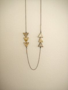 Terra - Rustic Earthy Triangles Necklace on Long Copper Chain - Long Necklace