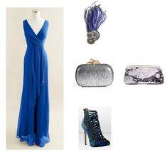 look boda vestido largo azul klein