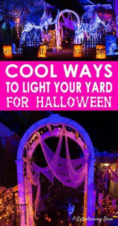 I'm going to use these outdoor Halloween decorations to create a spooky yard haunt in my front yard. Halloween Outdoor Lighting Ideas: 18 Spooky Ways To Light Your Yard - Entertaining Diva @ From House To Home Halloween Tags, Halloween Scene, Halloween Banner, Halloween Party Decor, Holidays Halloween, Happy Halloween, Diy Halloween Yard Decorations, Diy Halloween Haunted House Ideas, Outdoor Decorations