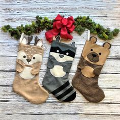 Animal Stockings by Twig Tale Christmas Stocking Pattern, Felt Stocking, Christmas Sewing, Christmas Crafts, Stocking Ideas, Xmas, Woodland Christmas, Christmas Stuff, Christmas Ideas