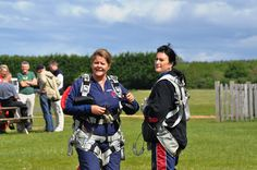 Julie and Lisa preparing for their jump.