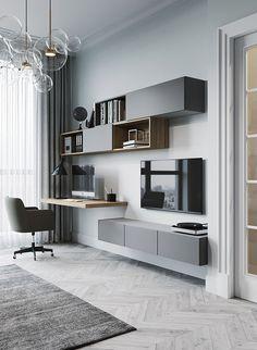Bedroom Pop Design, Study Room Design, Bedroom Setup, Tv In Bedroom, Home Room Design, Home Office Design, Home Interior Design, Study Room Furniture, Study Room Decor
