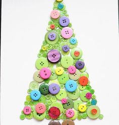Simple DIY Christmas Craft Ideas for Kids - Button Tree - Click PIN for 25 Holiday Decoration Ideas