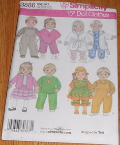 """Simplicity Sewing Pattern 3886 Doll Clothes Pattern for 15"""" Baby Dolls Uncut #Simplicity"""