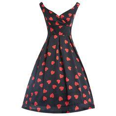 Fay Black Heart Swing Dress | Vintage Style Dresses - Lindy Bop