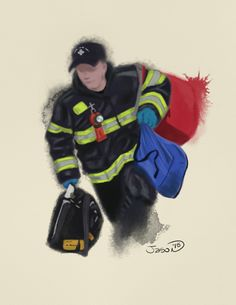 "This is the third and final digital watercolor in my ""First Responders"" set entitled ""Rapid Response"".  8x10 cardstock prints available at my Etsy store. https://www.etsy.com/shop/Crazy8Illustrations?ref=hdr_shop_menu"