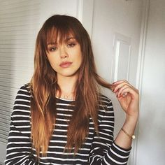 White stripes and new bangs #SundayFunday Kayture ❤ liked on Polyvore featuring hair, people, icons and pictures