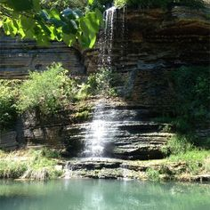 Dogwood Canyon Wildlife Park, Branson, Missouri — by Gabe Crain. Beautiful waterfall. There is a path to the left leading up under it.