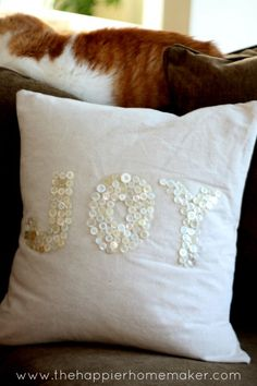 Super cute DIY Drop Cloth Christmas Pillow with Vintage buttons