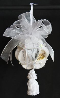 ornament made from a wedding invitation