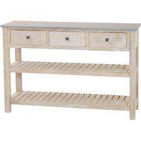 Console bois exotique blanchi plateau zinc 3 tiroirs 2 étagères  ...