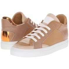 MM6 Maison Margiela Metallic Crackle Low Top Sneaker (Beige/Orange)... ($238) ❤ liked on Polyvore featuring shoes, sneakers, orange, lace up shoes, lacing sneakers, orange shoes, leather trainers and leather lace up shoes