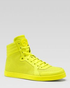 Gucci Coda Neon Leather High-Top Sneakers