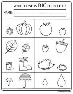 Fall preschool worksheets FREE printable pdf - Planes & Balloons