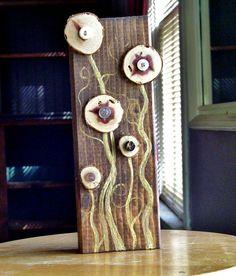 wood block button flower garden