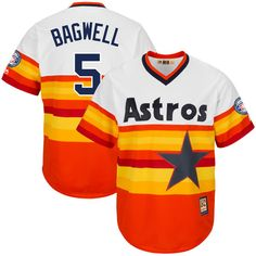 Jeff Bagwell Houston Astros Majestic Fashion 2017 Hall of Fame Cooperstown Collection Patch Cool Base Player Jersey - Orange/Multi - $134.99