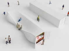 Designers Explore an Entirely New Use for Shipping Containers in Seoul's Design District,Courtesy of NL Architects Container Architecture, Landscape Architecture, Interior Architecture, Landscape Design, Industrial Architecture, Zaha Hadid, Kiosk Design, Signage Design, Design Design