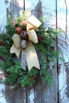 Christmas Wreath, Birch Wreath, Pine, Burlap, Metal Ribbon, Rusty Bells via Etsy.