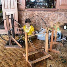 Lotus weaving is a must-see when you visit Inle Lake. #Lotusweaving #MyanmarFabric #Traditional #Weaving #Myanmar