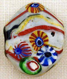 Antique Venetian tabular glass bead, circa late 1800's, early 1900's.