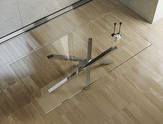 Mesa de comedor rectangular de acero inoxidable y cristal Colección SHANGAI by…