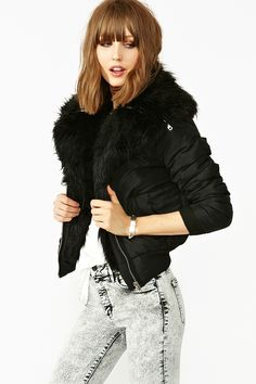 Amelia Shearling Bomber from Nasty Gal