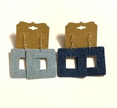Excited to share this item from my #etsy shop: Blue jean denim fabric square earrings geometric boho hippie double sided lightweight women teen unique denim jewelry handmade gift dangle#blue#jean#denim#fabric#square#earrings#geometric#boho#hippie#doublesided#lightweight#handmade#homemade#unique#denimjewelry Square Earrings, Big Earrings, Leaf Earrings, Denim Earrings, Fabric Earrings, Earrings Handmade, Handmade Jewelry, Handmade Gifts, Geometric Heart