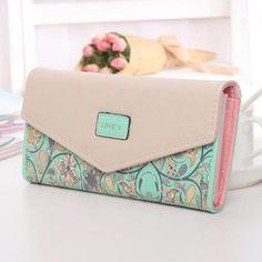 78243a2a7d Lady Handbag Envelope Women Wallet Hit Color 3Fold Flowers Printing 5Colors  PU Leather Wallet Long Ladies