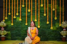 Traditional background with marigold n banana leaves. Wedding Backdrop Design, Desi Wedding Decor, Wedding Hall Decorations, Flower Decorations, Backdrop Decorations, Wedding Ideas, Leaf Decoration, Reception Backdrop, Background Decoration