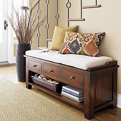 Entry Ideas here! :) Love the entry rug Love the pillow tones and bench color and the vase with filler.