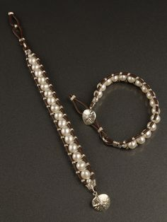 Harmony Scott design - pearl and leather woven bracelet - tightly woven with one continuous piece of wire.