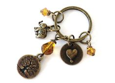 Tree Love Keychain Yoga Accessories Brass by BohemianEarthDesigns