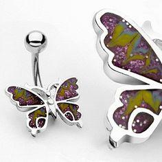 Navlepiercing med lilla sommerfugl 34 kr