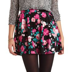 Floral Print Skater Skirt (25 CAD) ❤ liked on Polyvore featuring skirts, bottoms, black combo, skater skirt, charlotte russe skirts, floral print skirt, elastic waist skirt and floral flare skirt
