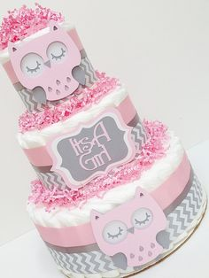 Items similar to 3 Tier Chevron Pink And Gray Owl Diaper Cake Baby Shower Centerpiece, Woodland Centerpiece, Girl Baby Shower, Chevron on Etsy Baby Shower Cakes For Boys, Baby Shower Diapers, Baby Shower Themes, Baby Boy Shower, Baby Shower Gifts, Owl Diaper Cakes, Unique Diaper Cakes, Comida Para Baby Shower, Baby Shower Souvenirs