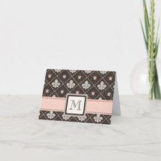 Fleur De Lis Monogram Note Card | Zazzle.com Simple Card Designs, Custom Stationary, Diy Monogram, Ribbon Design, Personalized Note Cards, Custom Cards, Folded Cards, Paper Texture, Card Making