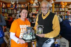 A surprise at the launch for Flavia volume 6 at the Bridge Book Shop on the Isle of Man. Happy birthday, Alan.