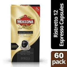 Experience a strong and intense espresso and thick crema with Moccona Ristretto 12 espresso capsules. Packed with 100% roast and ground coffee beans in an aluminium capsule to lock in the freshness, this powerful blend of Robusta and complex flavors of Arabica deliver an intense and rich coffee experience. Available in 60 pack (312g) Ground Coffee Beans, Simple Pleasures, Nespresso, Roast, Strong, Food, Essen, Eten