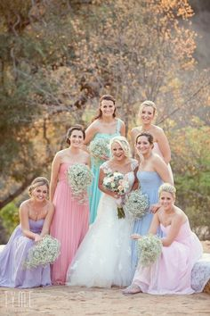 My beautiful bridesmaids in their gorgeous pastel bridesmaid dresses!!
