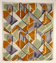 Vanessa Bell (English, 1879-1961)   Printed linen 'Maud', furnishing fabric designed for Omega Workshops, c.1913   Hand block printed in  by Besselievre, at the Maromme Print Works Company, Rouen, France