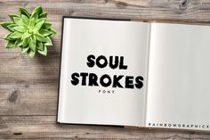 Soul Strokes is an all-caps bold slab serif font with strong character. Get inspired by its powerful appearance! Business Brochure, Business Card Logo, Slab Serif Fonts, Strong Character, Script Type, Creative Sketches, Paint Markers, Premium Fonts, Pencil Illustration