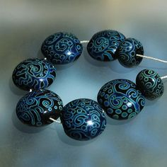 Mysterious Forest  Handmade Lampwork Beads Set SRA by Mandra, $59.00
