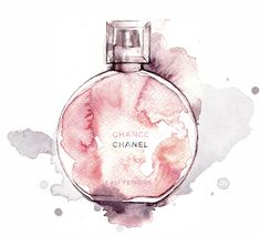 Chanel Chance Eau Tendre - Alessia Landi fashion illustration #perfume #watercolor