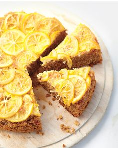 This is a delicious lemon-almond cake which, like most upside-down cakes, is impressive to behold.