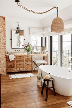 Wood Floor Bathroom Ideas - 12 Wood Floor Bathroom Ideas, 50 Best Bathroom Design Ideas to Get Inspired Modern Bathroom Decor, Contemporary Bathrooms, Bathroom Interior, Bathroom Ideas, Bathroom Lighting, Earthy Bathroom, Modern Decor, Bathroom Trends, Budget Bathroom